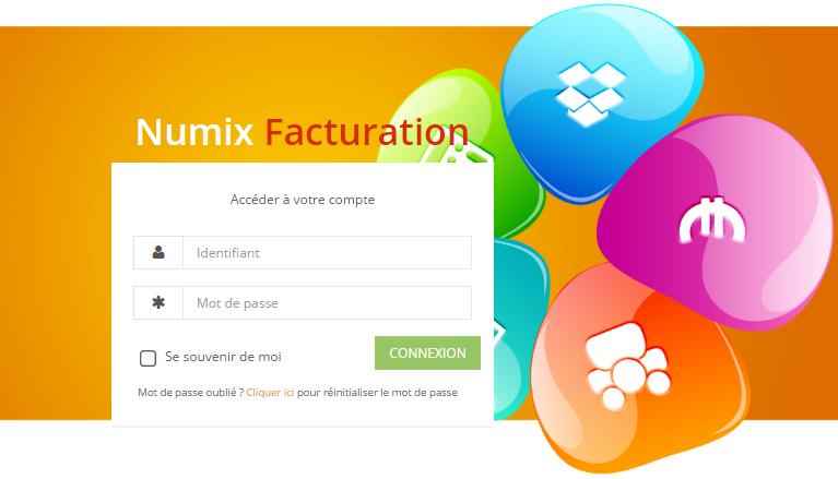 page de connexion de Numix facturation, la plateforme d'e-facturation au service des entrepreneurs